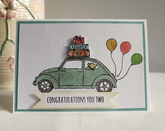 Hand made card - Congratulations card with Beetle car, and dog. New home, moving card with suitcases and balloons