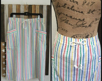 VINTAGE Rainbow Striped Skirt 80s - 1980s Rainbow Midi Skirt - Size Medium Cotton - 80s Hipster  - Retro - Large Hip Pockets A line
