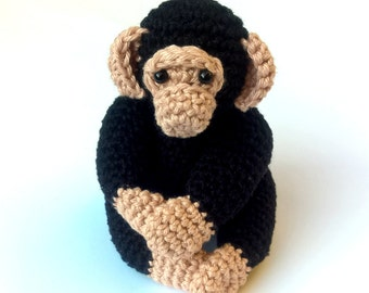 Crochet chimpanzee, crochet amigurumi monkey, crochet chimp plush toy, monkey stuffed animal