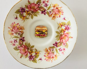 Burger on White Display Plate 3D Sculpture with Pink Purple and Green Floral Design for Wall Decor Birthday Wedding Anniversary Friend Gift