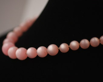 Pale Dusty Pink Graduated Hand-beaded Necklace with Adjustable Choker String