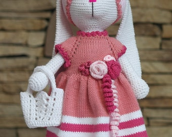 Tilda bunny Handmade doll Interior doll Amigurumi bunny Bunny rabbit Rabbit doll Crochet bunny Knit Rabbit Baby Doll Decorative Doll