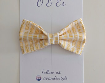 Yellow and white line fabric bow
