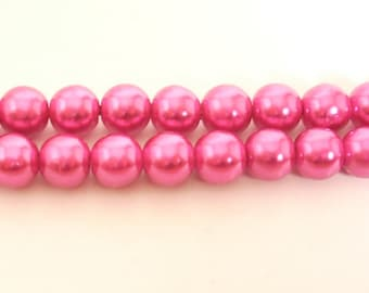15 Pearly pink round resin beads