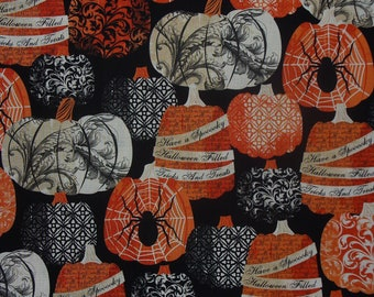 Pumpkins Fabric, Halloween Fabric, Fall Pumpkins, Spiders and Webs, Timeless Treasures, By the Yard, Quilting Cotton