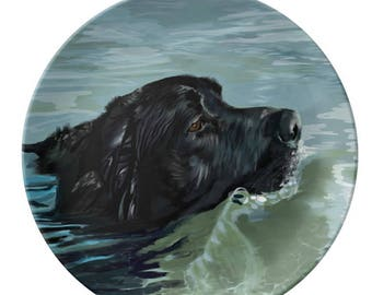 Porcelain Plate,Black Lab in the Water