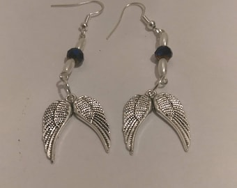 Angel Wing Earrings With Black and Pearl Beads