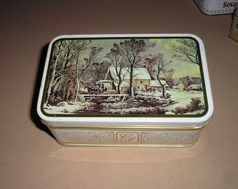 Vintage Currier-Ives tin