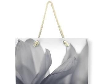 Floral Canvas Weekender Bag, Beach BAG, Shoulder Bag, Printed Overnight Bag, Gray Flower Travel Bag, Nature Carry On Bag, Large Canvas Bag