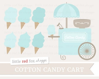 Cotton Candy Clipart, Blue Dessert Clip Art Sweet Carnival Fair Festival Sugar Girl Label Cute Digital Graphic Design Small Commercial Use