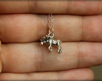 Itty Bitty Moose Necklace in Sterling Silver
