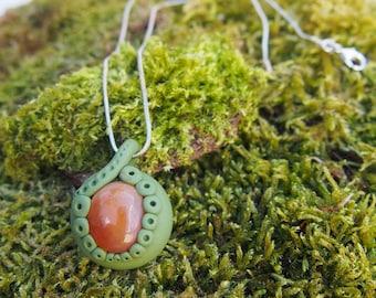 Handmade Carnelian Sage Green Clay Pendant