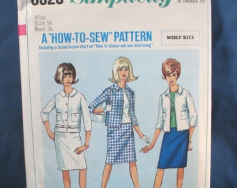 Vintage Simplicity Pattern 6320 - Misses Jacket, Skirt and Overblouse - 1965