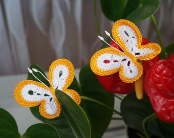 Crochet  butterfly Knitted  butterfly Set 2 pcs  Butterfly applique  Scrapbooking butterfly Decorate  butterfly Cloth accessory