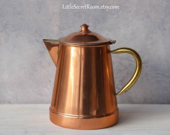 """Antique coffee pot """"TAGUS"""", coffee maker, '70/'80s, copper and brass"""