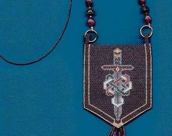 Beaded amulet bag with a Celtic sword design