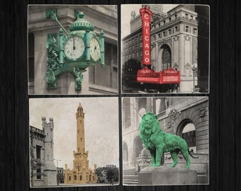 Vintage Chicago Landmark Tile Coaster Set - Marshall Fields, Chicago Theater, Watertower, Art Institute