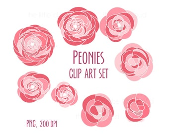 Peonies clip art, pink and red flowers clip art, floral clipart