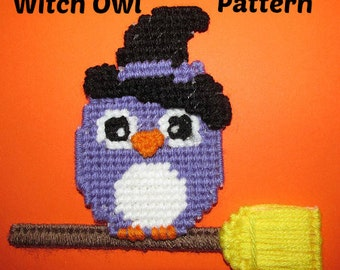 Owl Plastic Canvas Magnet Pattern - Halloween Witch With Broom -PDF Pattern