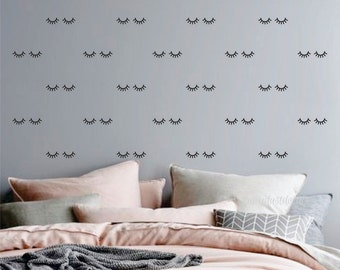 Eyelash Wall Decal, sleepy eyes, vinyl decal, nursery wall decals, eyelashes, sleeping eyes wall art, set of 30, shut eyes, eyes shut decals