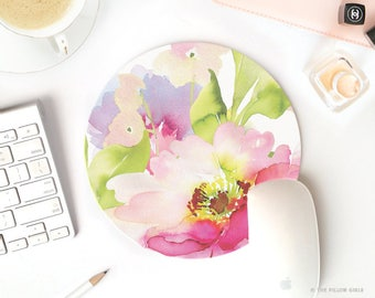 floral mouse pad | round mouse pad | mouse pad vintage