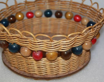 wicker basket with big Beads woven in sides wood beads wicker basket handcrafted beaded basket retro basket vintage basket wicker basket