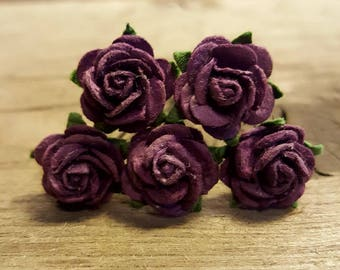 Dark Purple Rose Flower, Wedding Hair Accessories, Flower Hair Pins, Mulberry Paper Flower Hair Pins
