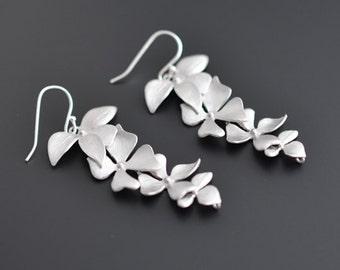 Beautiful long orchid earrings, silver earrings, wedding earrings, party jewelry, bridal jewelry, clip earrings, gift
