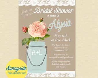 Peach Rose Rustic Bridal Shower Invitation, mason jar with kraft burlap and lace // country shower invite // printable or printed