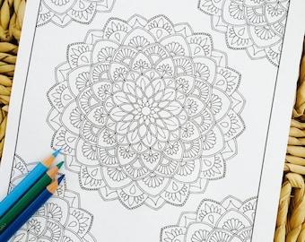 "Mandala ""Amaze Corner"" Hand Drawn Adult Coloring Page Print"