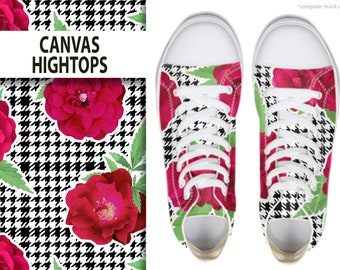 MEN'S CANVAS HIGHTOPS: Terps and Roses Original Print