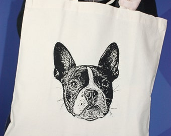 Boston Terrier Tote Bag, Boston Terrier Bag, Boston Terrier Purse, Gift