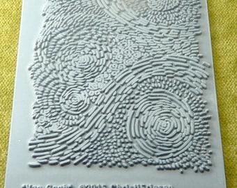 VAN GOGH  Rubber Texture Tile Embossing Stamp  Christi Friesen