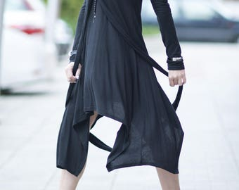 Wool Knit Black Dress, Maxi Wool Dress, Extravagant Long Dress, Maxi Knitting Dress by EUG FASHION - DR0114Ck