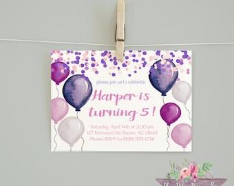 Balloon Birthday/Girl birthday/ Girl Birthday Invitation/ Girl Balloon Printable Invitation