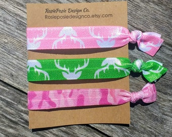 Camo antler Hair ties girl women mom mother teens elastic foe accessories fashion deer antlers pony tail holder bracelet wrist pink green