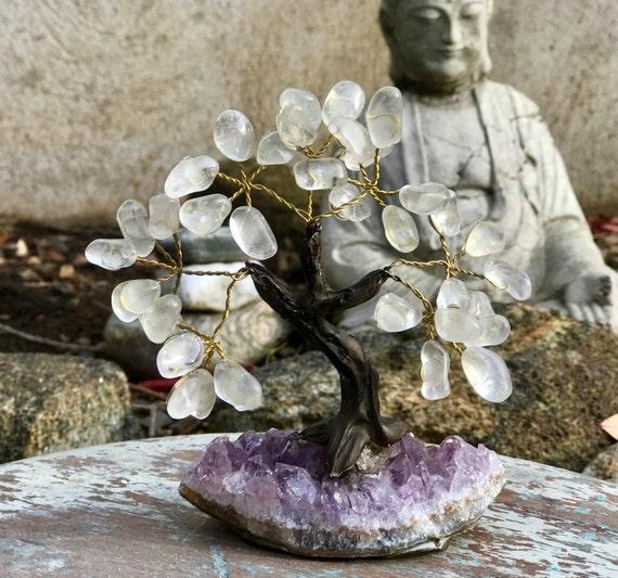Crystal Bonsai Tree ~ Small, Stone Tree, Crystal Tree, Crystal Tree of Life, Crystal Wishing Tree, Rose Quartz Tree, Amethyst Tree Feng Shui