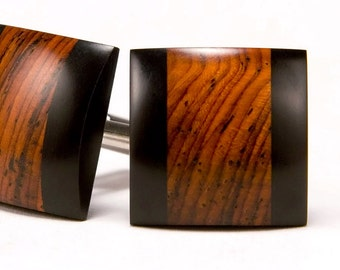 Wood Cuff Links Groomsmen Gifts Wedding Party Gift For Him Cocobolo Ebony Wooden Cufflinks Gift For Men 5th Anniversary Gift for Husband