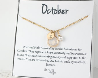 October Birthstone Gold Necklace, White Opal Necklace, October Birthday Jewelry, October Birthstone Jewelry, Personalized Gold Necklace #877