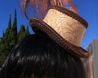 Steampunk Hat    Victorian Riding Hat     Mini Top Hat with Ostrich Feather Facinator