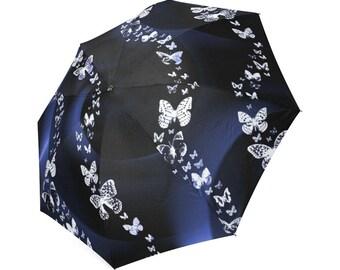 Blue Butterfly Swirl, Foldable Umbrella, Rain gear, Cool Umbrella's, Butterfly Design, fun Umbrellas