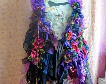 Bohemian  shawl capelet victorian scarf embellished capelet flower scarf shrug Scarves & Wraps boho scarf gypsy scarf fairy scarf gypsy