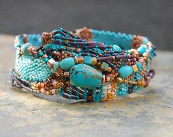 Freeform Peyote Turquoise Wrap Bracelet