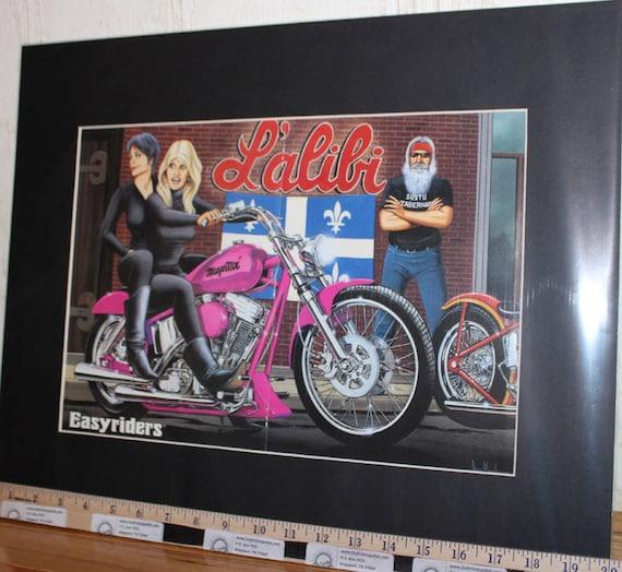 """David Mann """"L'alibi"""" 16'' x 20'' Matted Biker Art #9703ezrxmb"""