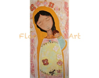 A Time for Everything - Mother and Baby - Print  from Original Mixed Media Folk Art Painting by FLOR LARIOS ( 5 x 10 inches)