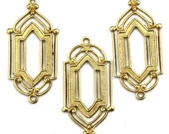 Ornate Art Deco Connector Charm Raw Brass Pendant (2) CP225