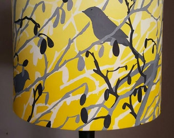 Yellow lampshade etsy hand printed lampshade hand painted lampshadebright yellow lampshade yellow and grey lampshade aloadofball Image collections