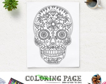 Floral Skull Halloween Party Coloring Page Printable Art Coloring Pages Instant Download Digital Art Holiday Art Print Adult Coloring Book