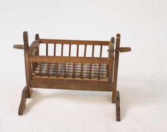 Miniature Rocking Crib, Dollhouse Crib, Miniature Doll Crib, Miniature Baby Crib, Wooden Crib, Crib, Vintage Crib