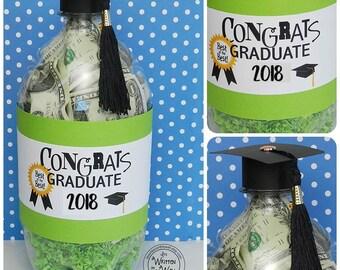 2018 Graduation Gift / Cash for Graduates / Congrats Grad / Money Gift / Graduation Present / Soda Bottle Graduation Label / Bottle of Cash